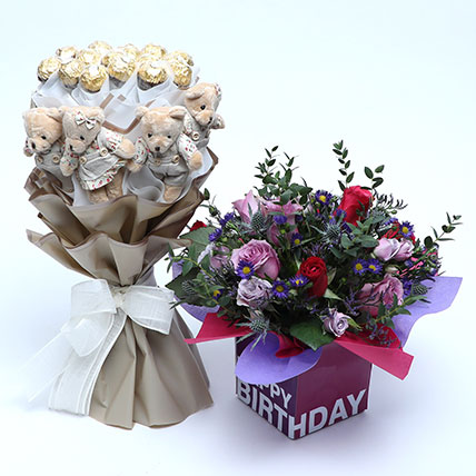 Special Birthday Wishes Combo: Flowers and Teddy Bears