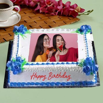 Birthday Floral Photo Cake: Eggless Cakes for Birthday