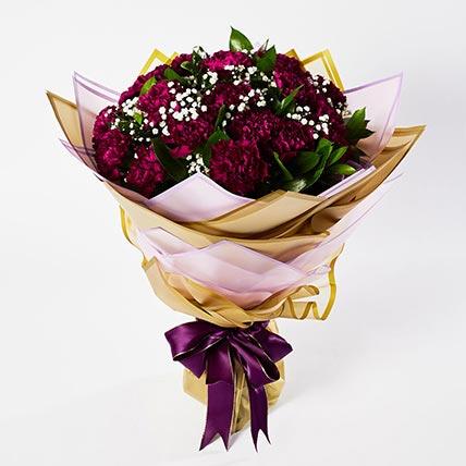 Alluring Purple Carnations Bouquet: Carnation Flower Bouquet