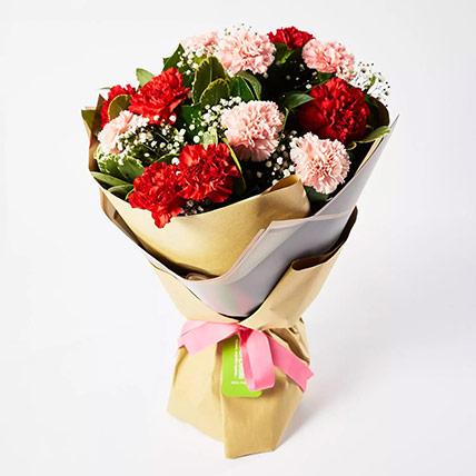 Appealing Mixed Carnations Bouquet: Carnation Flower Bouquet