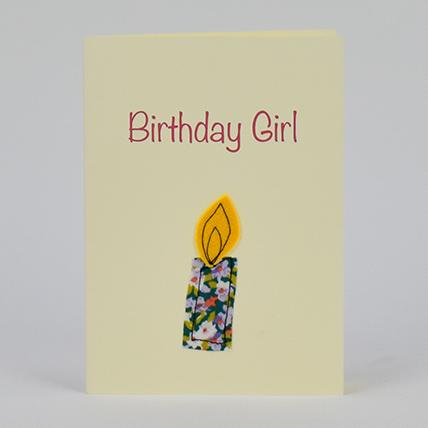 Birthday Girl Candle Handmade Greeting Card: