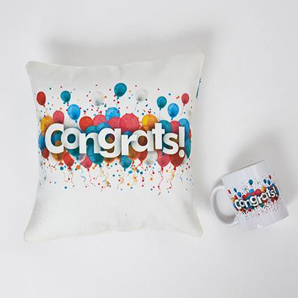 Colourful Congrats Cushion N Mug Combo: Personalised Cushions