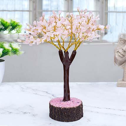 Light Pink Rose Quartz Stone Tree Showpiece: