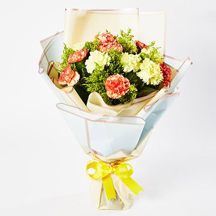 Serene Mixed Carnations Bouquet: Carnation Flower Bouquet