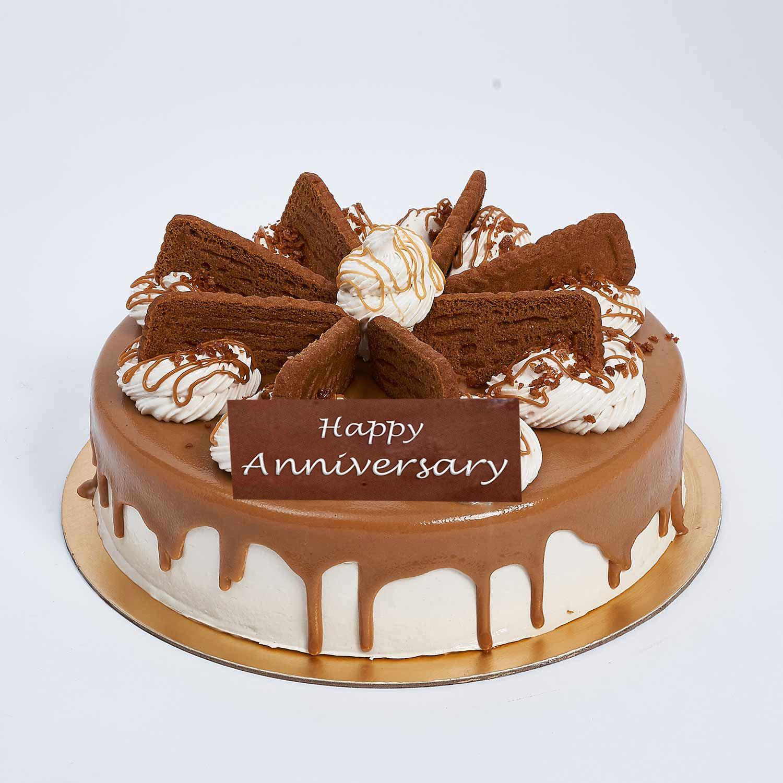 Half Kg Lotus Biscoff Cake For Anniversary: Wedding Anniversary Cake