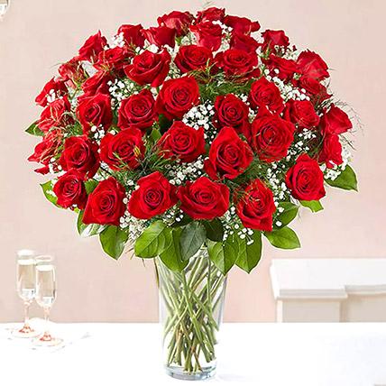Bunch of 50 Scarlet Red Roses: Luxury Flowers Dubai