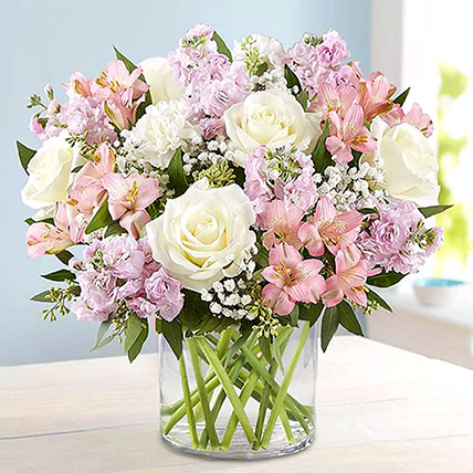 Pink and White Floral Bunch In Glass Vase: Birthday Gift Ideas