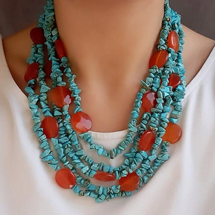 Natural Stone Necklace Turquoise N Orange: Premium Gifts