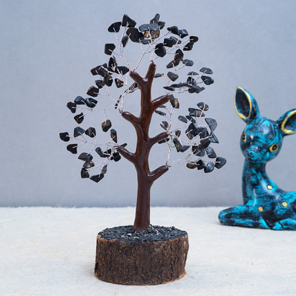 Black Agate Stone Handcrafted Wish Tree: