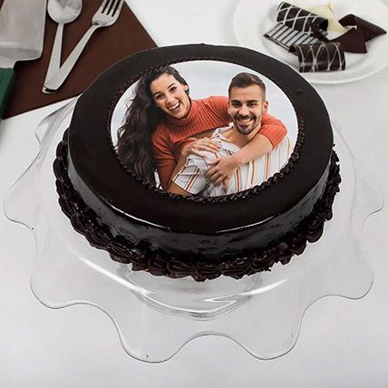 Chocolate Truffle Anniversary Photo Cake 500gm: Custom Cakes