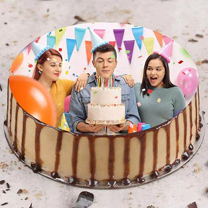 Enticing Birthday Butterscotch Photo Cake 500gm: Birthday Photo Cakes