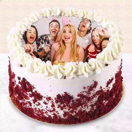 Red Velvet Photo Cake For Birthday: Custom Cakes