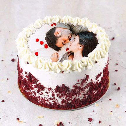Velvety Photo Cake For Anniversary: Red Velvet Cake Dubai