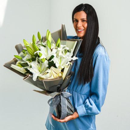 Beautiful Lilies Bouquet: Get Well Soon Flowers