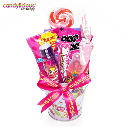 Candylicious Bucket Tin Candy Print Gift Pack: