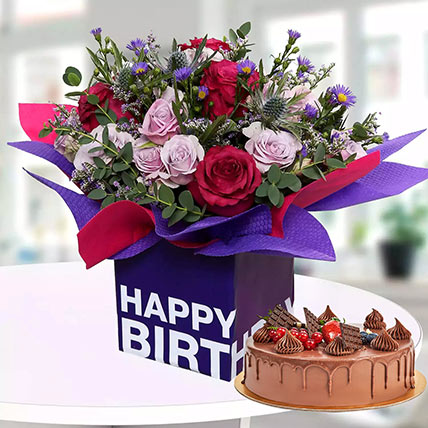 1 Kg Chocolate Cake With Birthday Flower Arrangement: Cake and Flower Delivery in Dubai