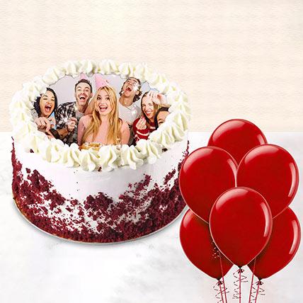 1 kg Red Velvet Photo Cake With Balloons: Red Velvet Cake Dubai