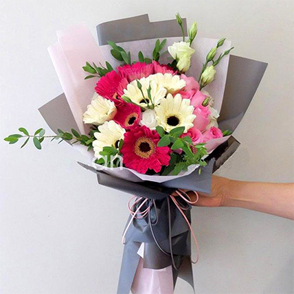 Majestic Mixed Flowers Beautifully Tied Bouquet: