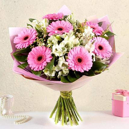 Serene Gerberas N Alstroemeria Bouquet: