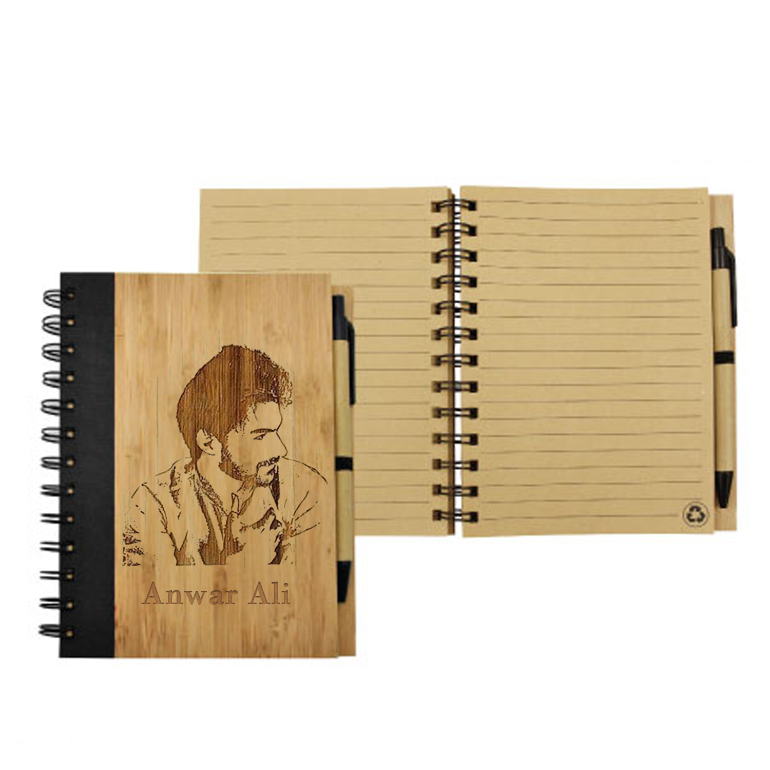 Photo Engraved Bamboo Notebook With Pen: Engraved Gifts in Dubai