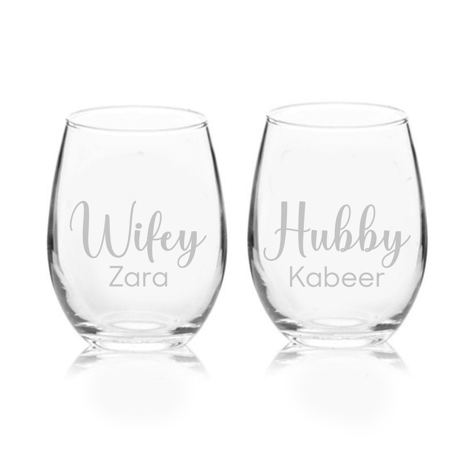 Set of Two Engraved Medium Glasses: Personalised Gifts for Anniversary
