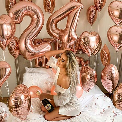 Birthday Special Rose Gold Balloon Decor: Experiential Gifts