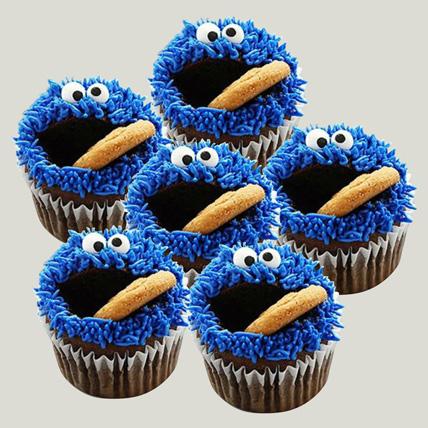 Cartoon Designer Chocolate Cupcakes Set Of 6: Birthday Cupcake