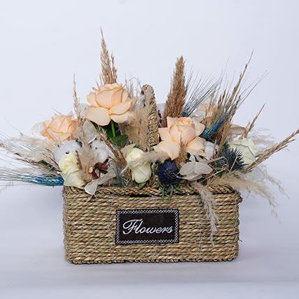 Delightful Mixed Flowers In Beautiful Basket: