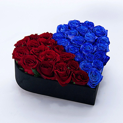 Heart Shaped Blue and Red Roses Arrangement: Father's Day Bouquet