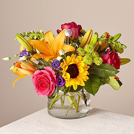 Heavenly Mixed Flowers Glass Vase: