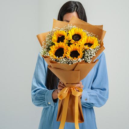 Ravishing Sunflowers Beautifully Tied Bouquet: Order Flowers