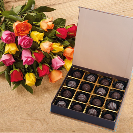 Multicolor Roses n Chocolate Truffles: Gifts Combos