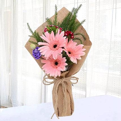 Pink Gerberas Chic Bunch: Friendship Day Flowers