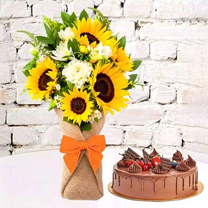 1 Kg Fudge Cake With Sunflowers Bouquet: Housewarming Gift Ideas
