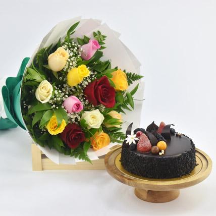 Dozen Multi Roses with Fudge Cake: Cake and Flower Delivery in Dubai