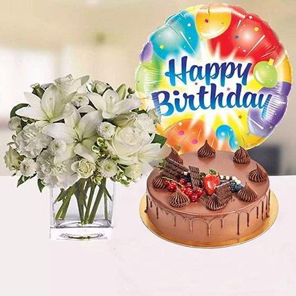 White Flower Vase & Fudge Cake For Birthday: