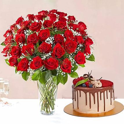 1 Kg Chocolaty Red Velvet Cake With 50 Roses Arrangement:
