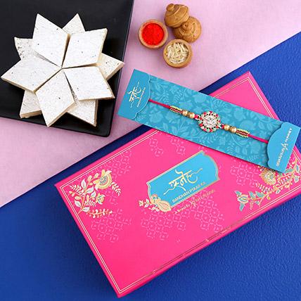 American Diamond Floral Rakhi And Kaju Katli: American Diamond Rakhi