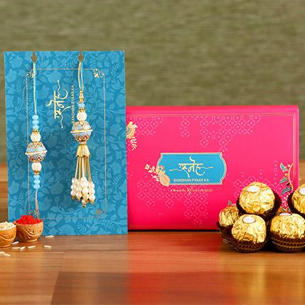 Blue Orb Pearl And Lumba Rakhi Set With 3 Pcs Ferrero Rocher: Ethnic Rakhi