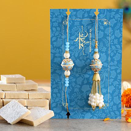 Blue Orb Pearl And Lumba Rakhi Set With Kaju Katli: Designer Rakhi