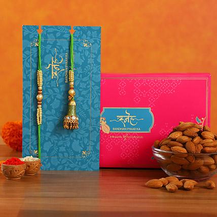 Ethnic Green Pearl And Lumba Rakhi Set With Healthy Almonds: Ethnic Rakhi