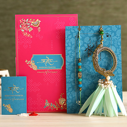 Feather And Pearl Designer Lumba Rakhi Set: Ethnic Rakhi