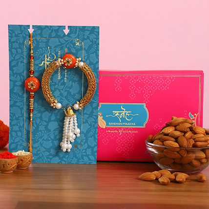 Orange Pearl And Lumba Rakhi Set With Healthy Almonds: Rakhi With Dryfruits