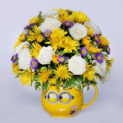Blissful Mixed Flowers In Mug Shape Vase: Flowers for Him