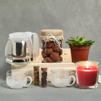 Tea n Cookies Gift Tray: Birthday Gift Hampers
