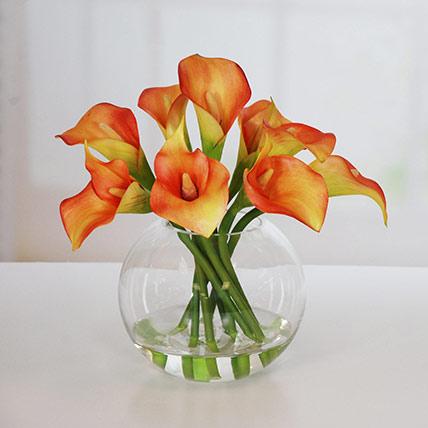 Premium Orange Calla Lilies Fish Bowl: