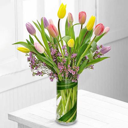Exotic Mixed Tulips Glass Vase: Tulip Flowers