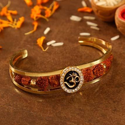 Om And Rudraksha Bracelet Style Rakhi: Designer Rakhi
