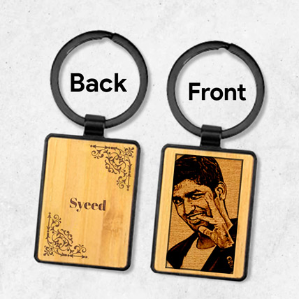 Wooden Keychain Personalised With Photo: Birthday Personalised Gifts