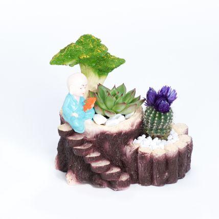 Echeveria and Cactus in Monk Planter: Desktop Plants